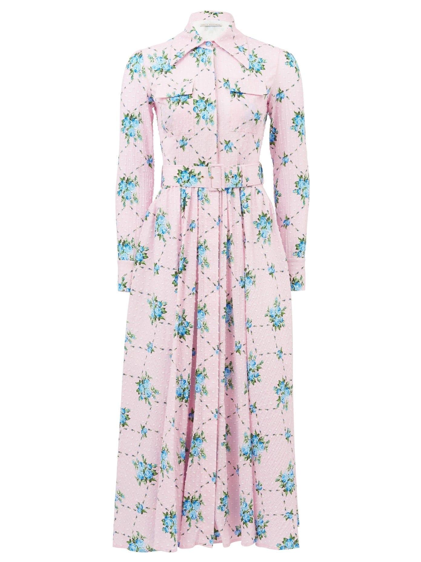 EMILIA WICKSTEAD Aurora Rose-print Cotton-blend Shirt Dress