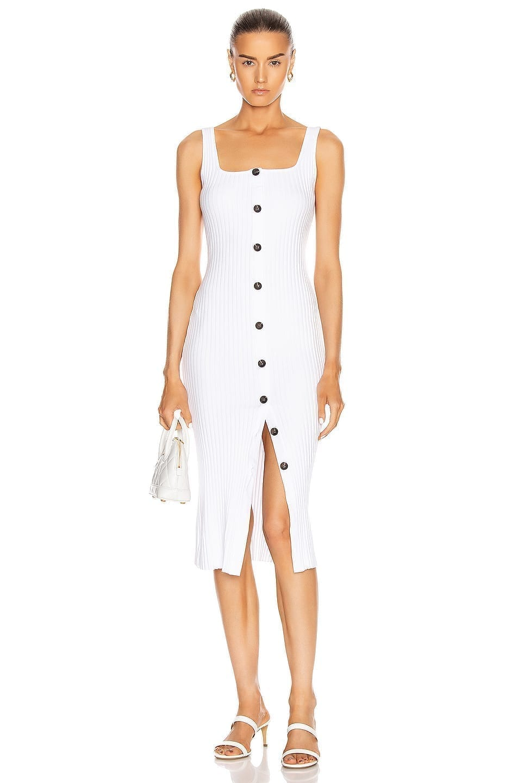 ENZA COSTA Military Cotton Rib Button Front Midi Dress