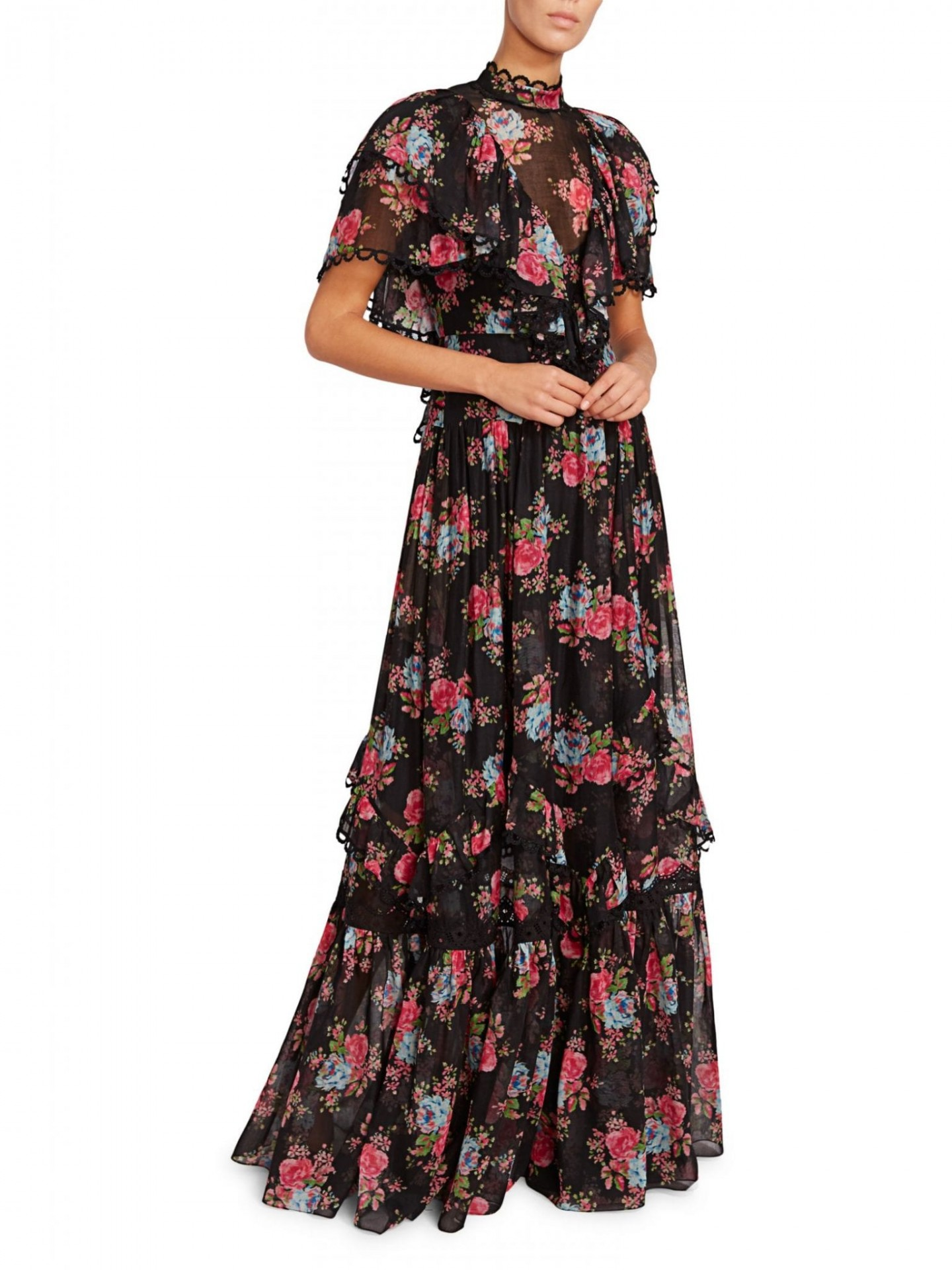 ERDEM Mauricia Tiered Ruffle Floral Gown