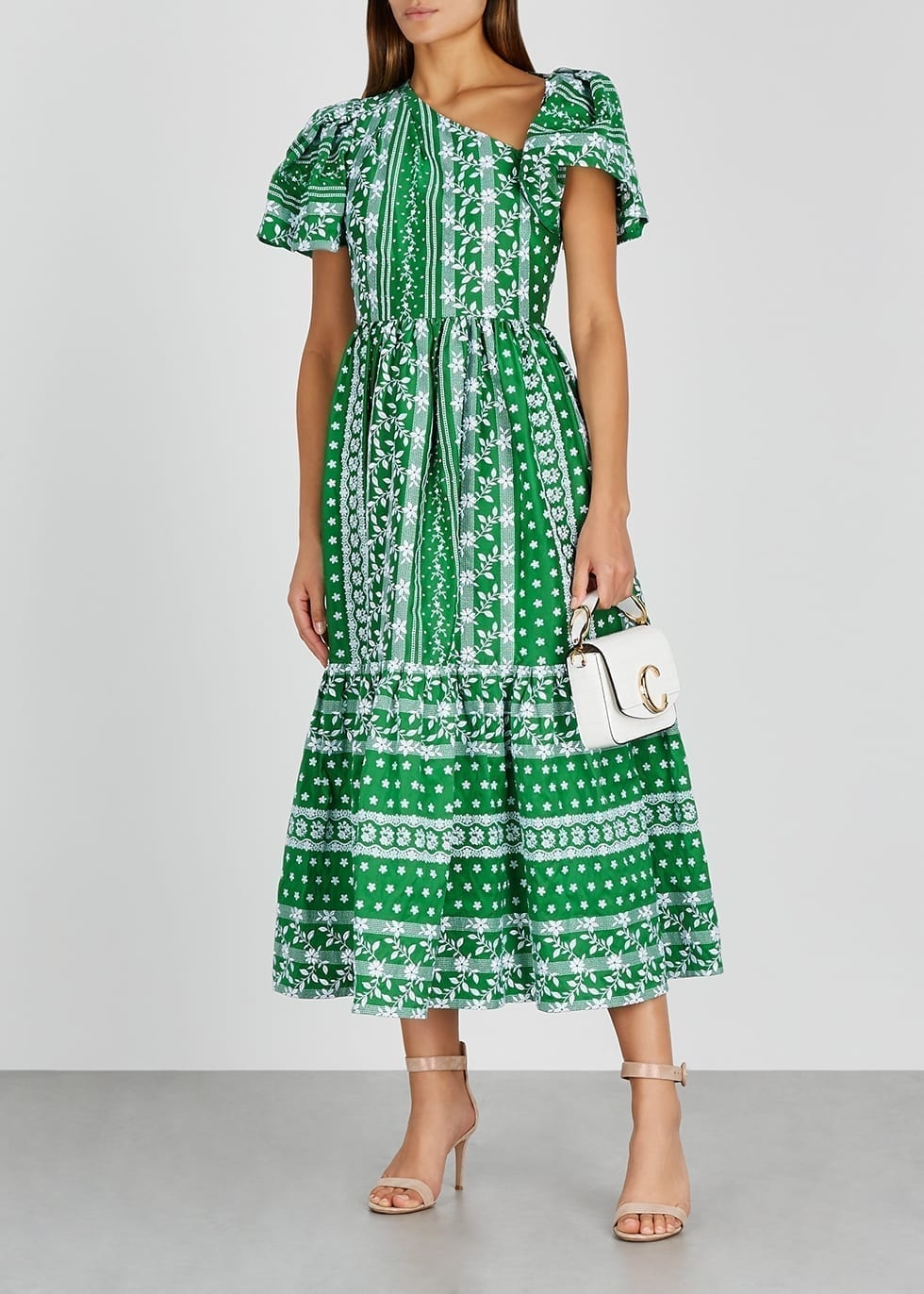 ERDEM Palomina Green Floral-embroidered Midi Dress
