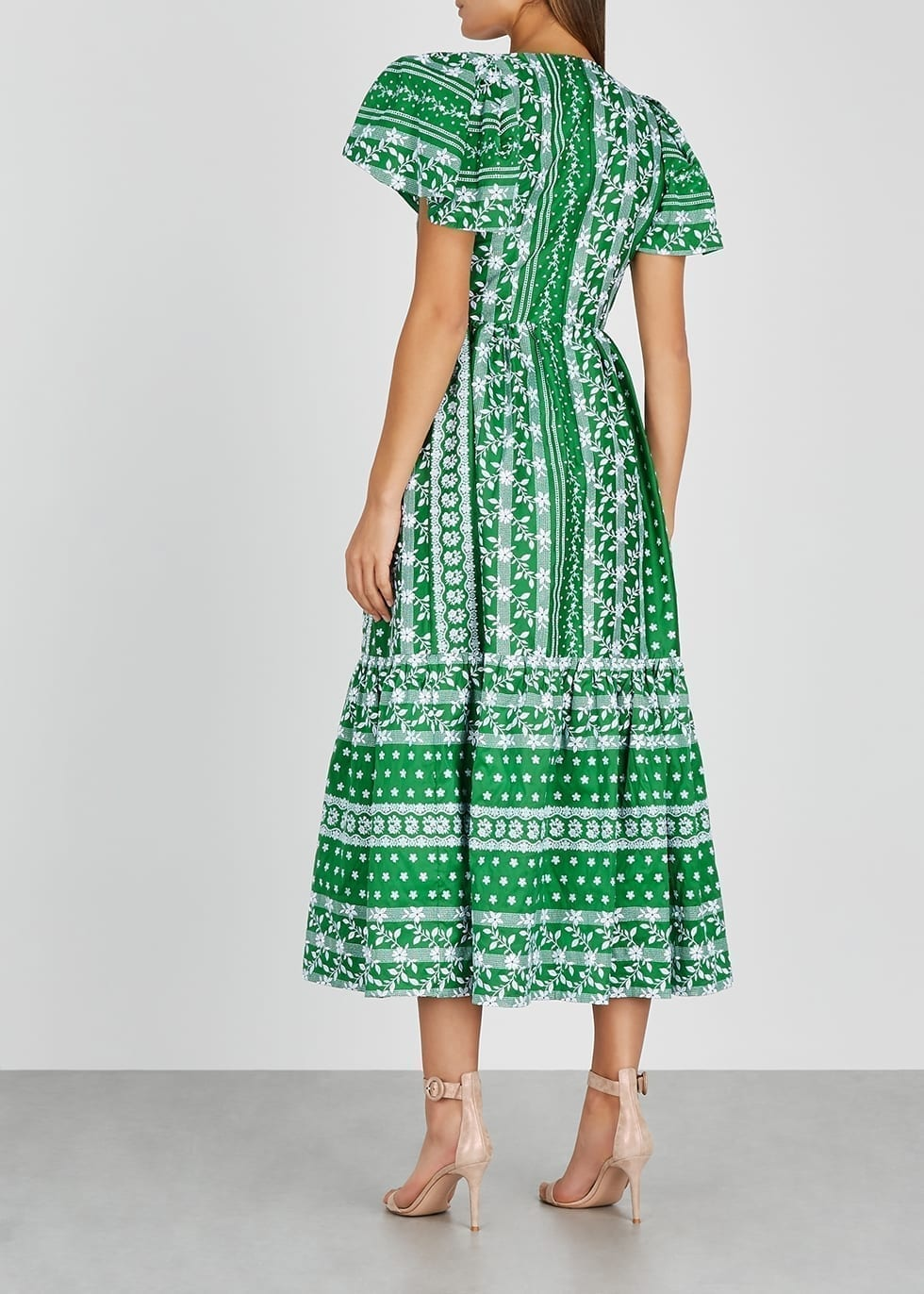 ERDEM Palomina Green Floral-embroidered Midi Dress