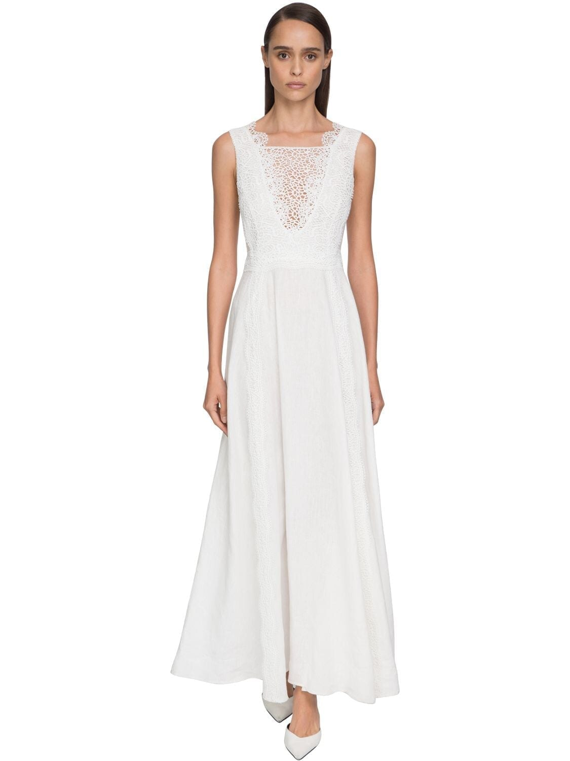 ERMANNO SCERVINO Flared Lace & Linen Dress