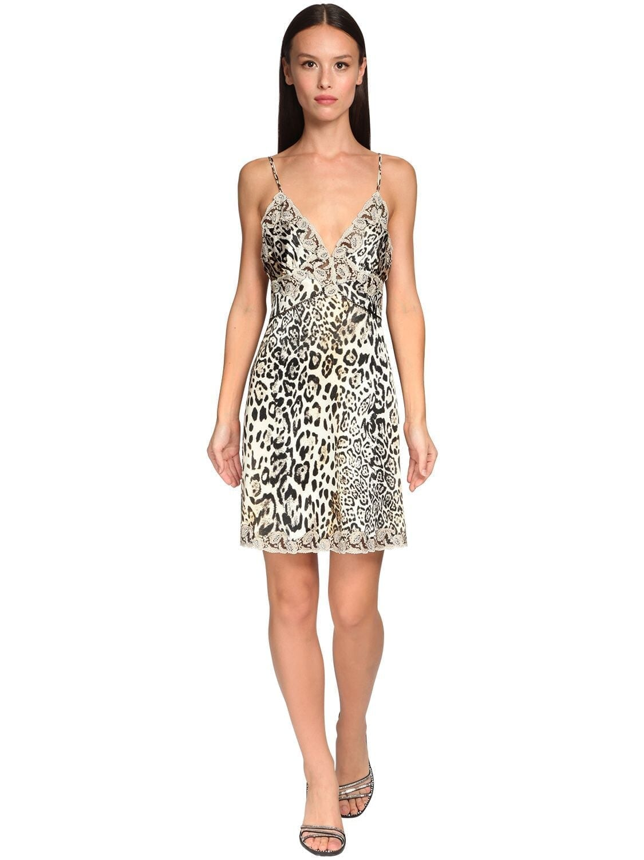 ERMANNO SCERVINO Leopard Print Satin & Lace Slip Dress