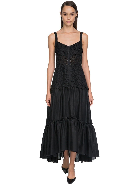 ERMANNO SCERVINO Ruffled Eyelet Lace Midi Dress