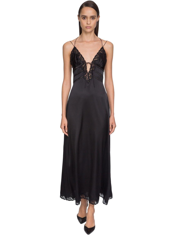 ERMANNO SCERVINO Satin & Lace Midi Dress