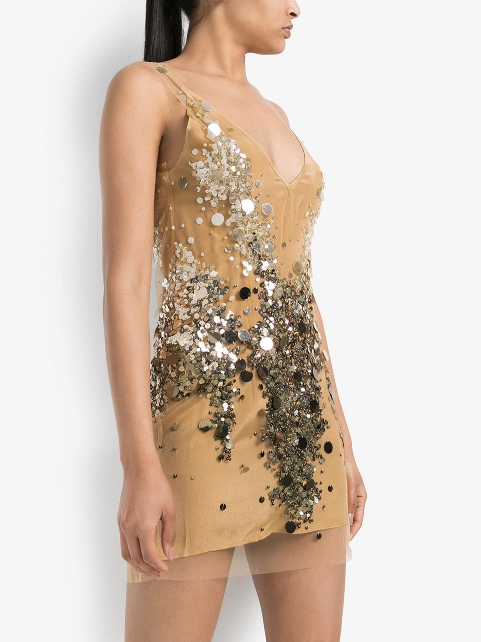 FAITH CONNEXION Sequin Embellished Mesh Mini Dress