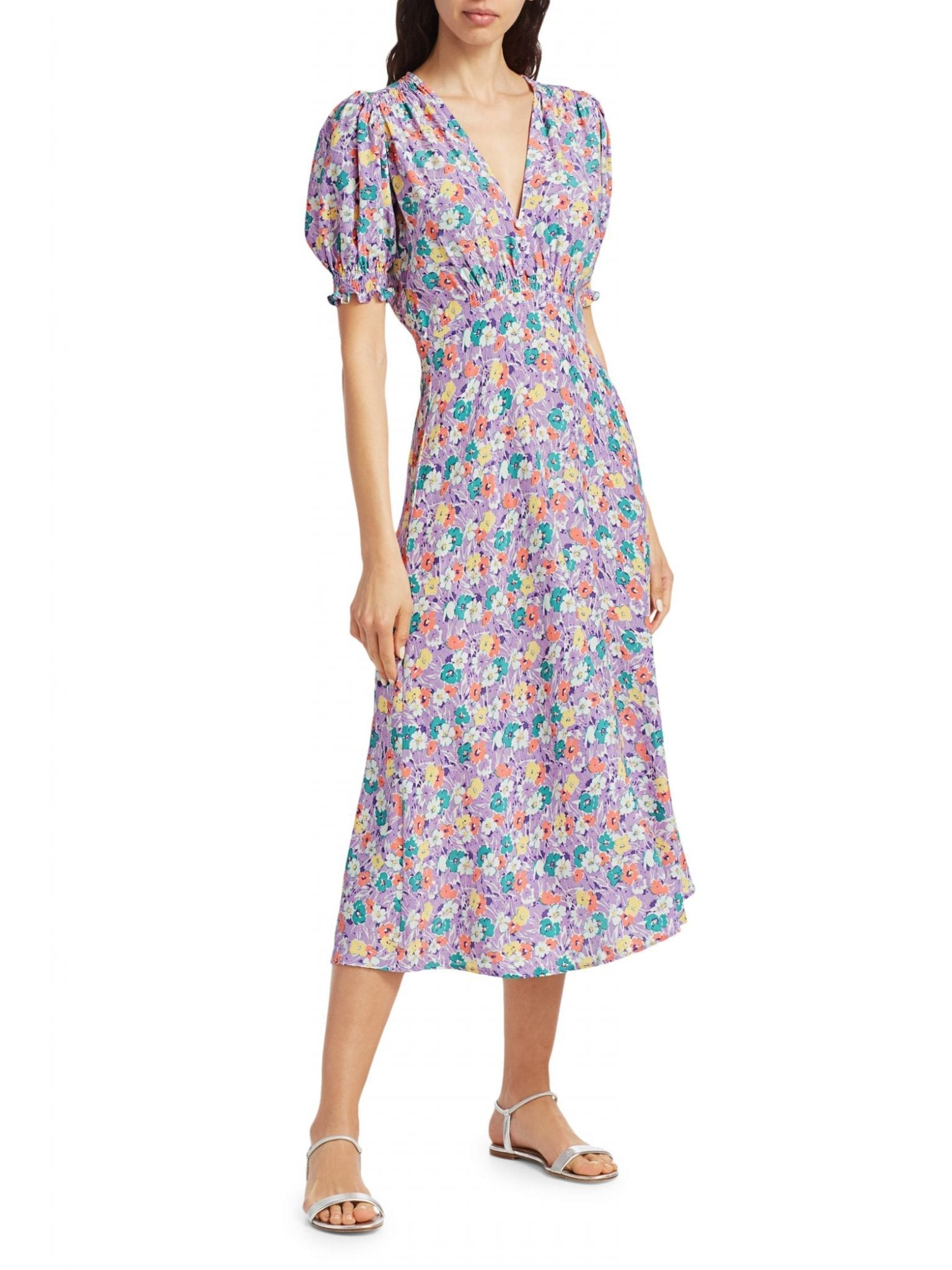 FAITHFULL THE BRAND Marie-Louise Puff-Sleeve Floral Midi Dress