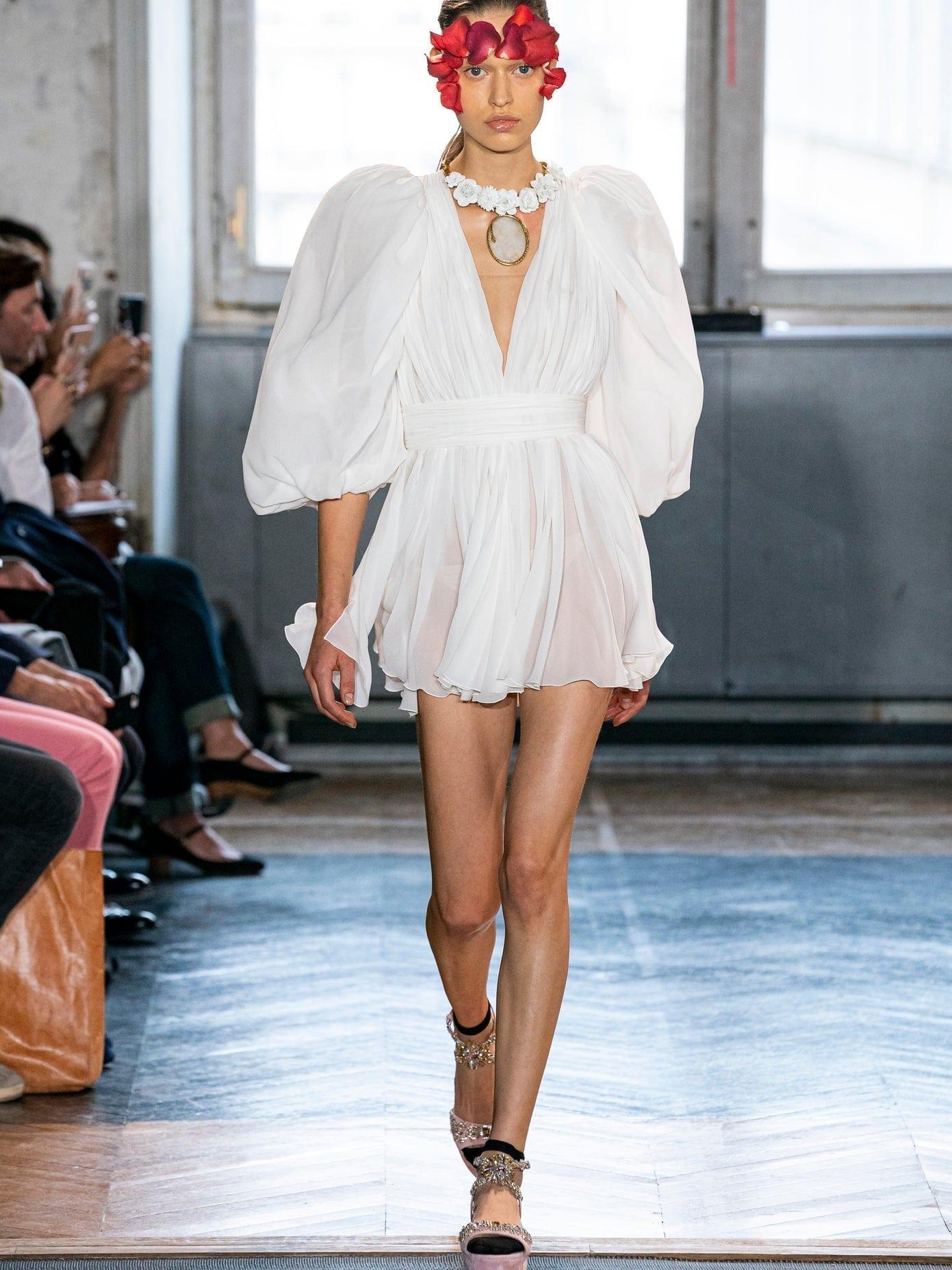 GIAMBATTISTA VALLI Plunge-neck Gathered Silk-georgette Mini Dress
