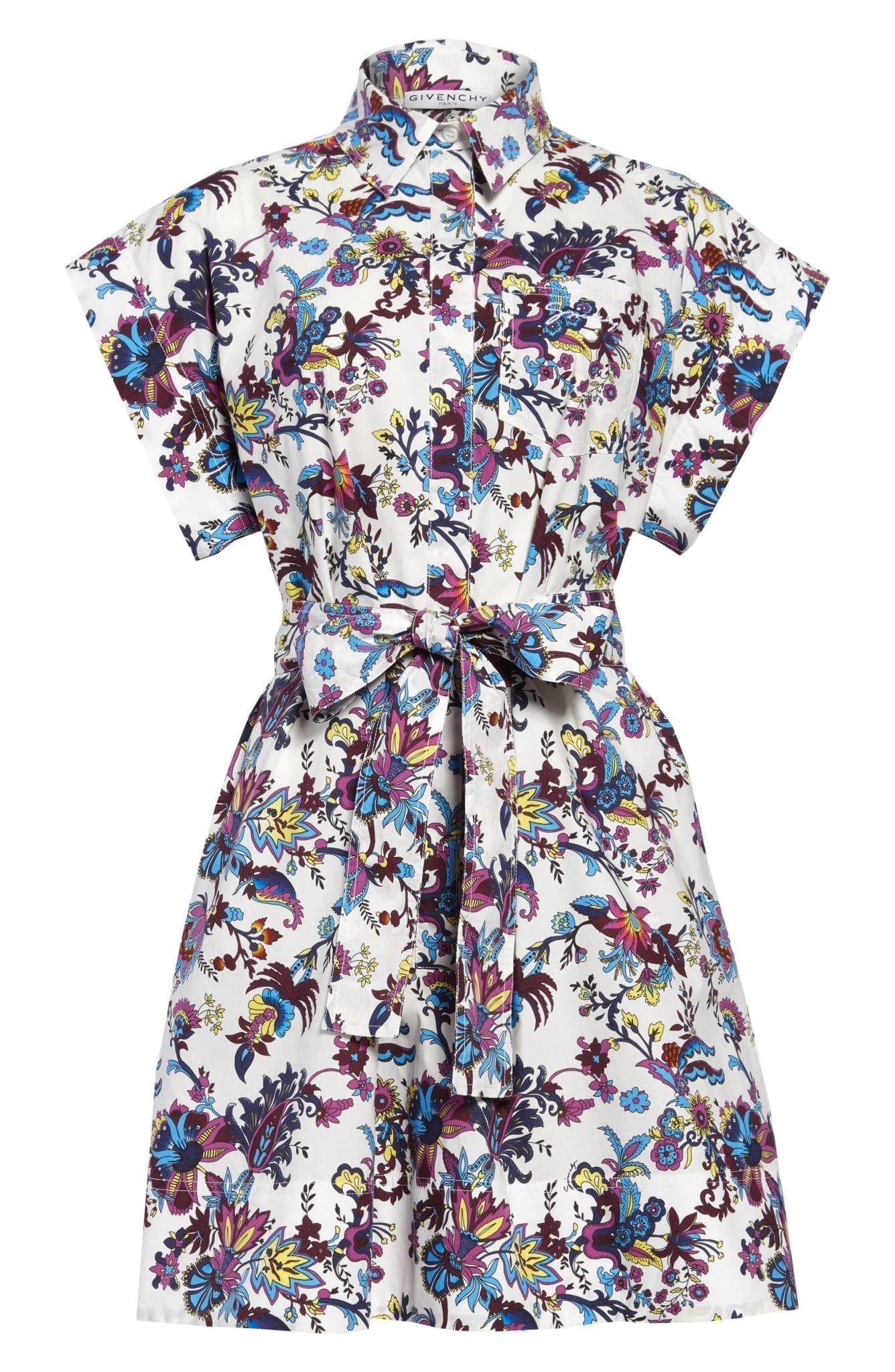 GIVENCHY Floral Print Cotton Poplin Shirt Dress