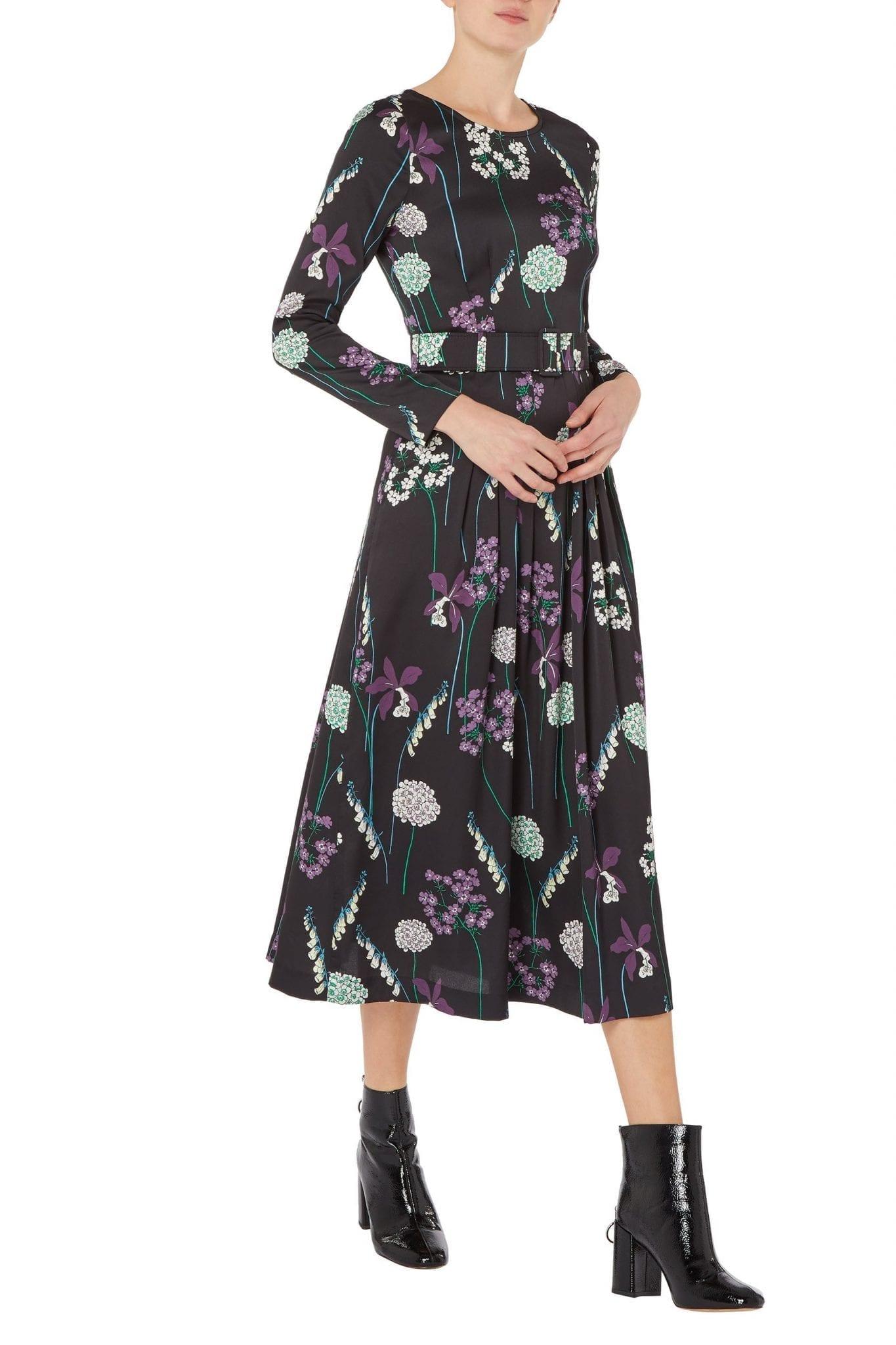 GOAT FASHION Josephine Foxglove Print Midi Dress