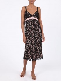 GUCCI Black Lace Mid-Length Dress