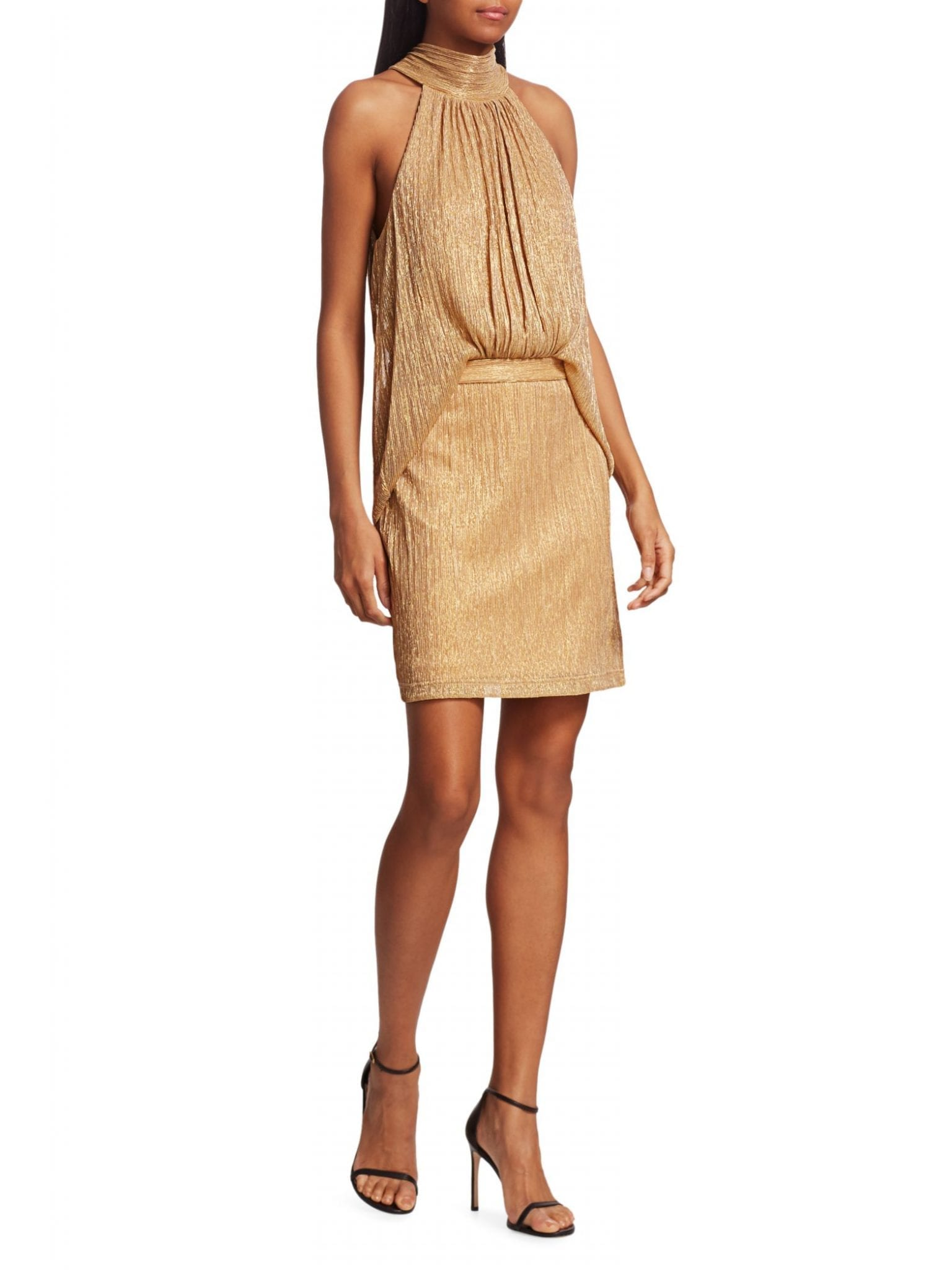 HALSTON Tie Mockneck Dress
