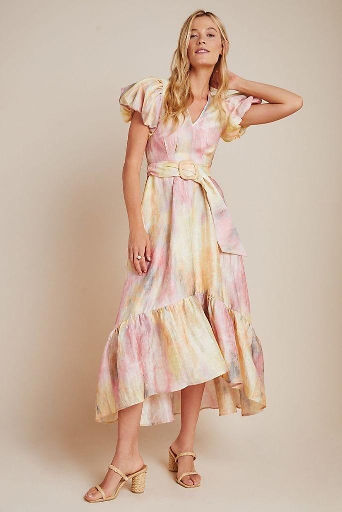 HUNTER BELL Sunset Ruffled Midi Dress