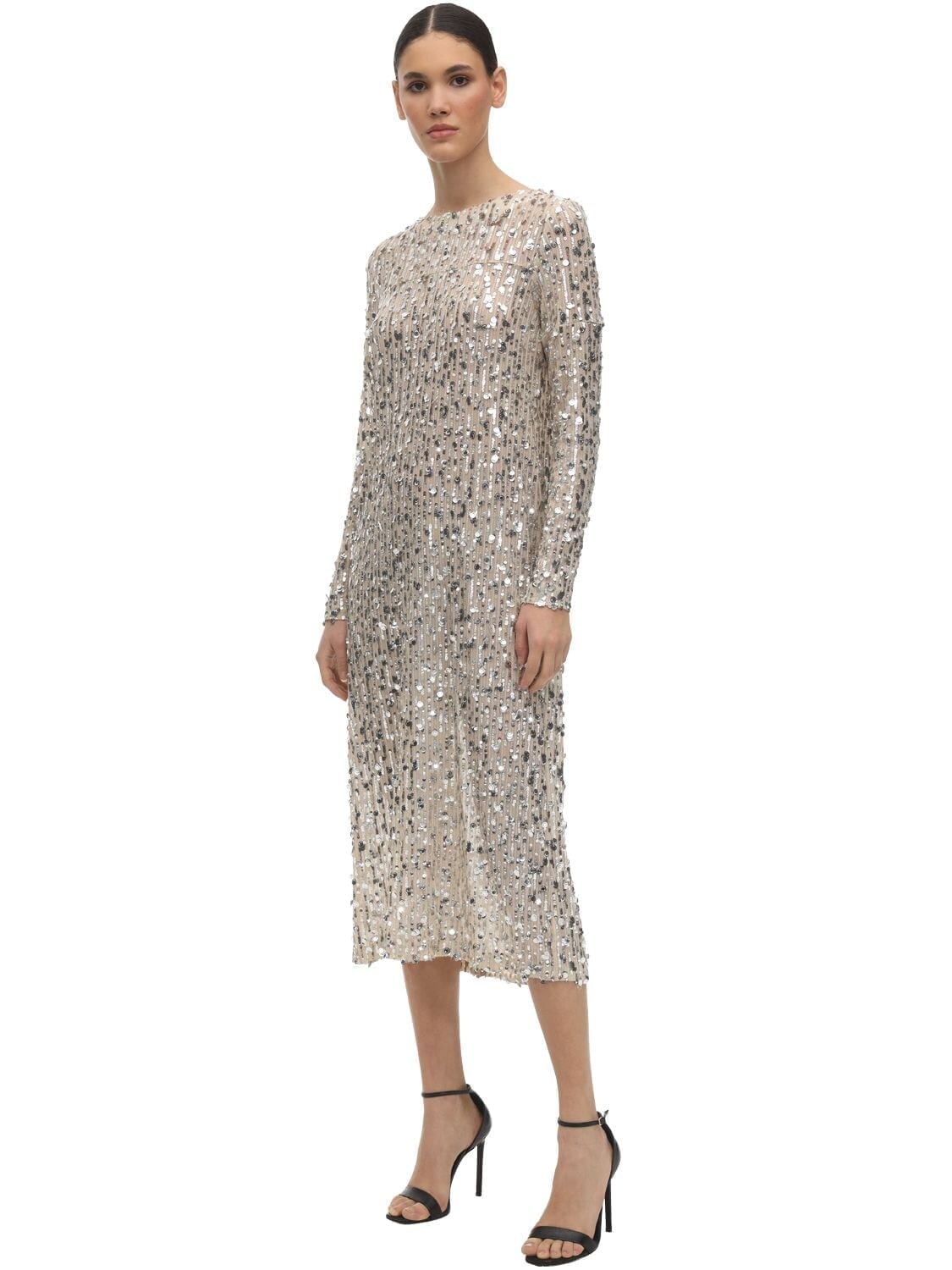 IN THE MOOD FOR LOVE Sequined Round Neck Midi Dress