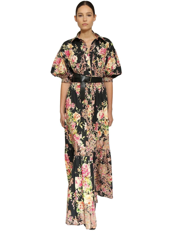 INGIE PARIS Floral Print Cotton Poplin Long Dress