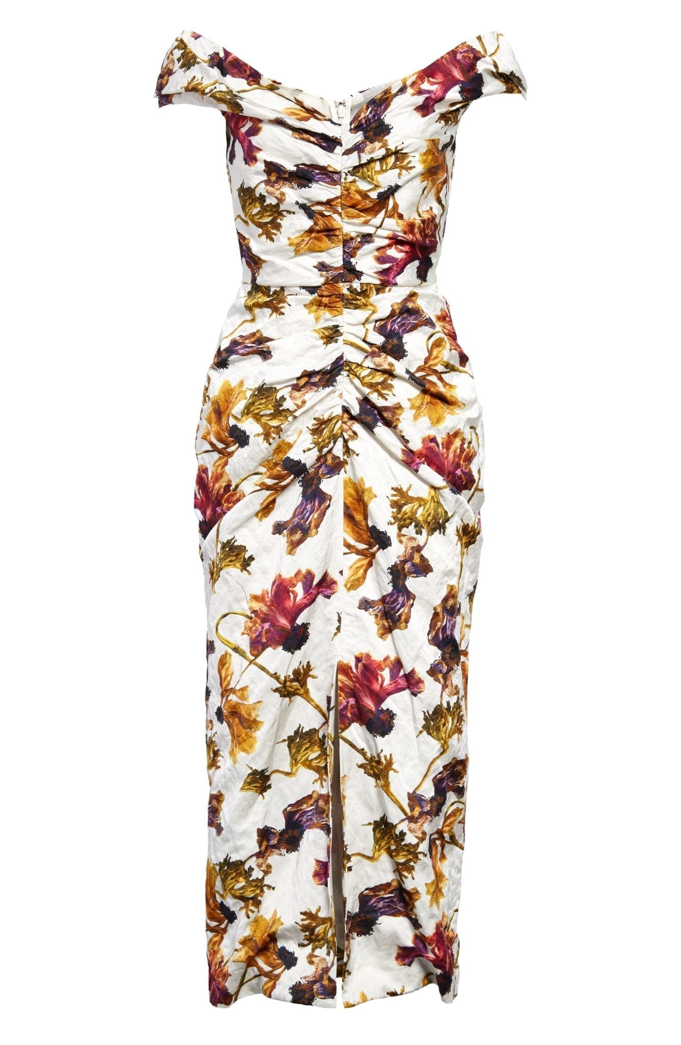 JASON WU COLLECTION Ruched Floral Print Washed Sateen Dress
