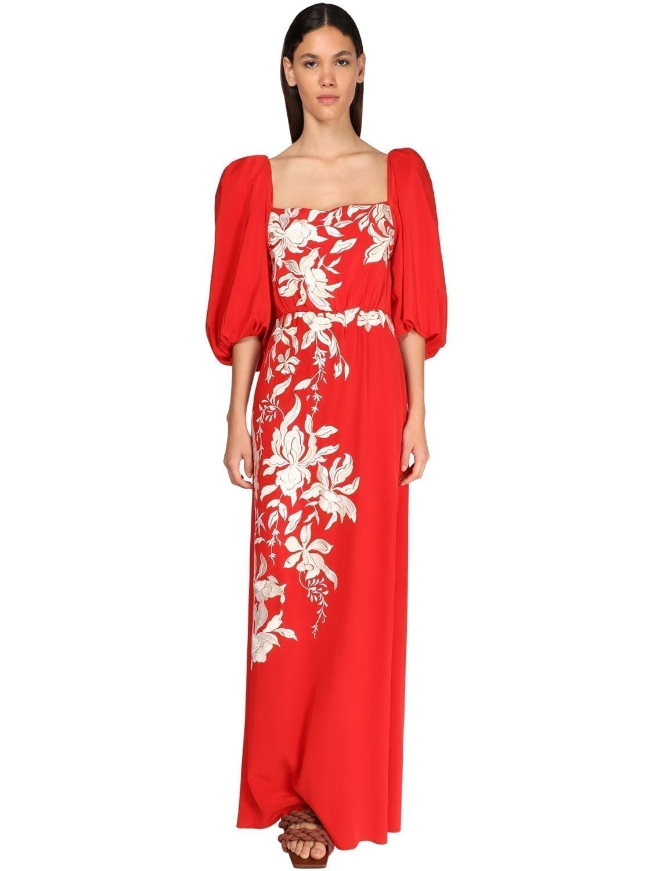 JOHANNA ORTIZ Embroidered Silk Crepe Long Dress