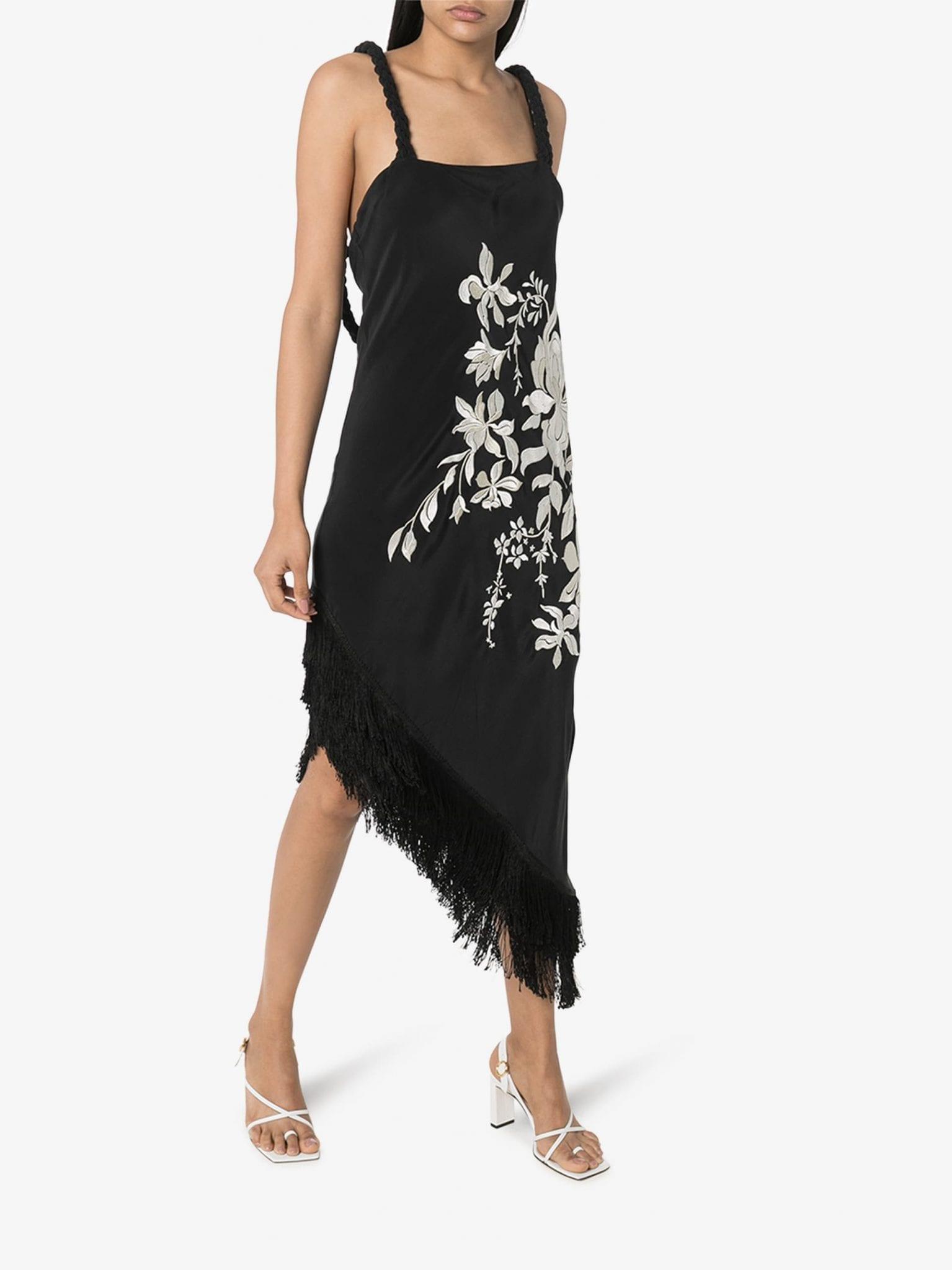 JOHANNA ORTIZ Floral And Flowers Asymmetric Midi Dress