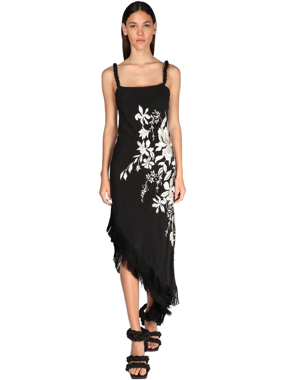 JOHANNA ORTIZ Floral Embroidery Silk Crepe Dress