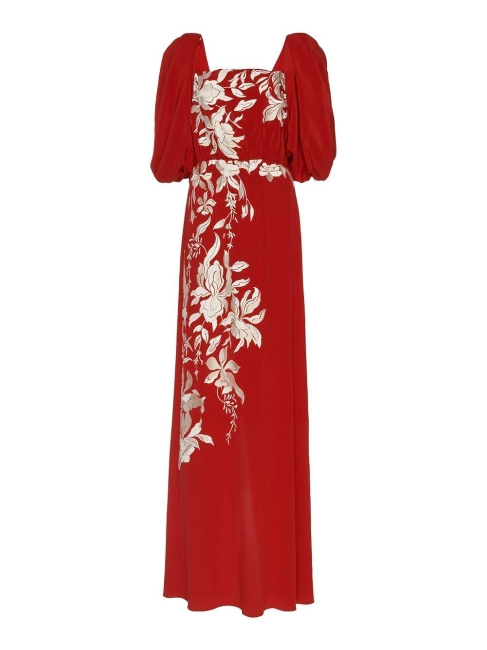 JOHANNA ORTIZ Floral Themes Embroidered Silk Maxi Dress