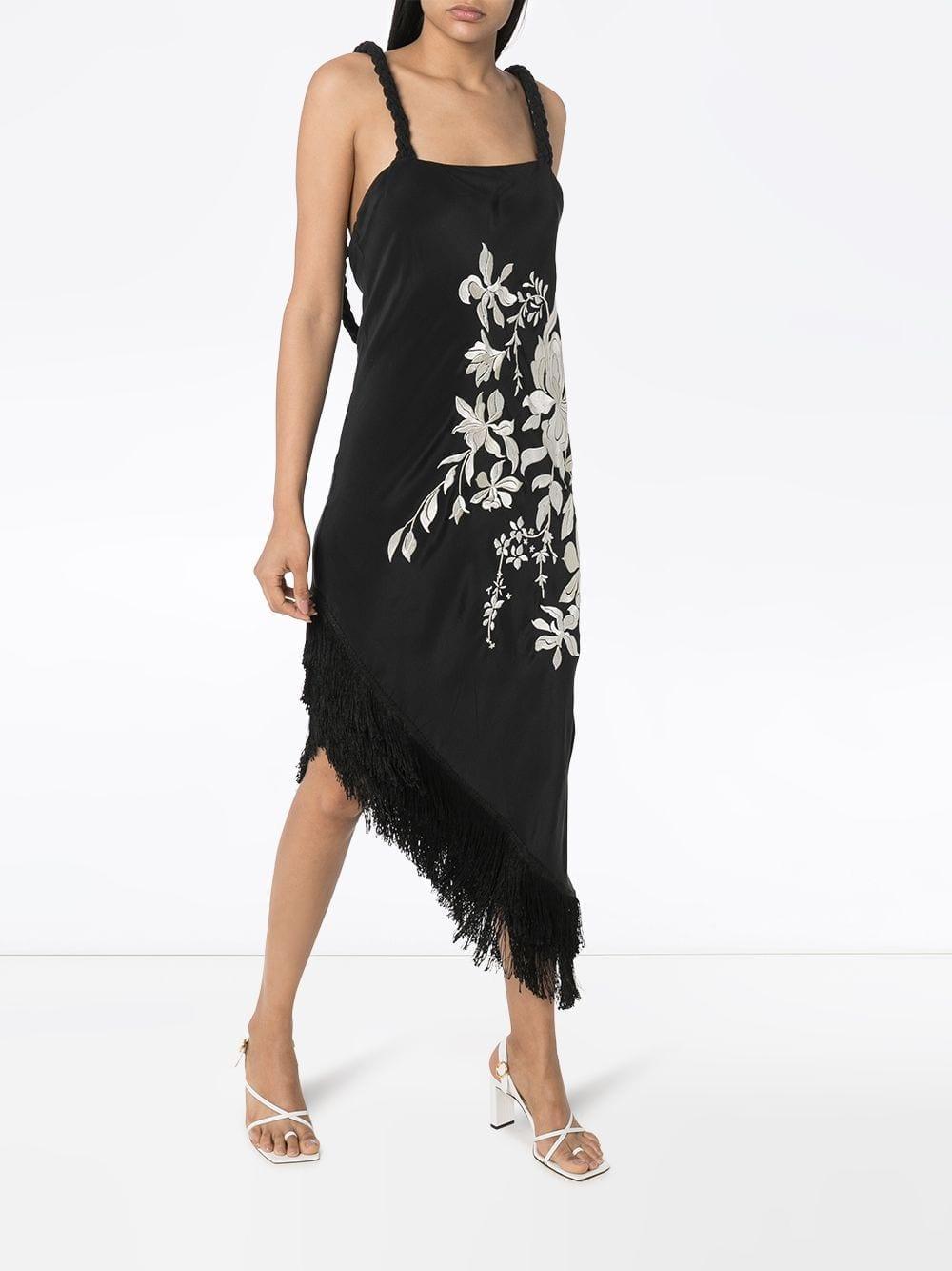 JOHANNA ORTIZ Focus And Flower Fringed Asymmetric Midi Dress