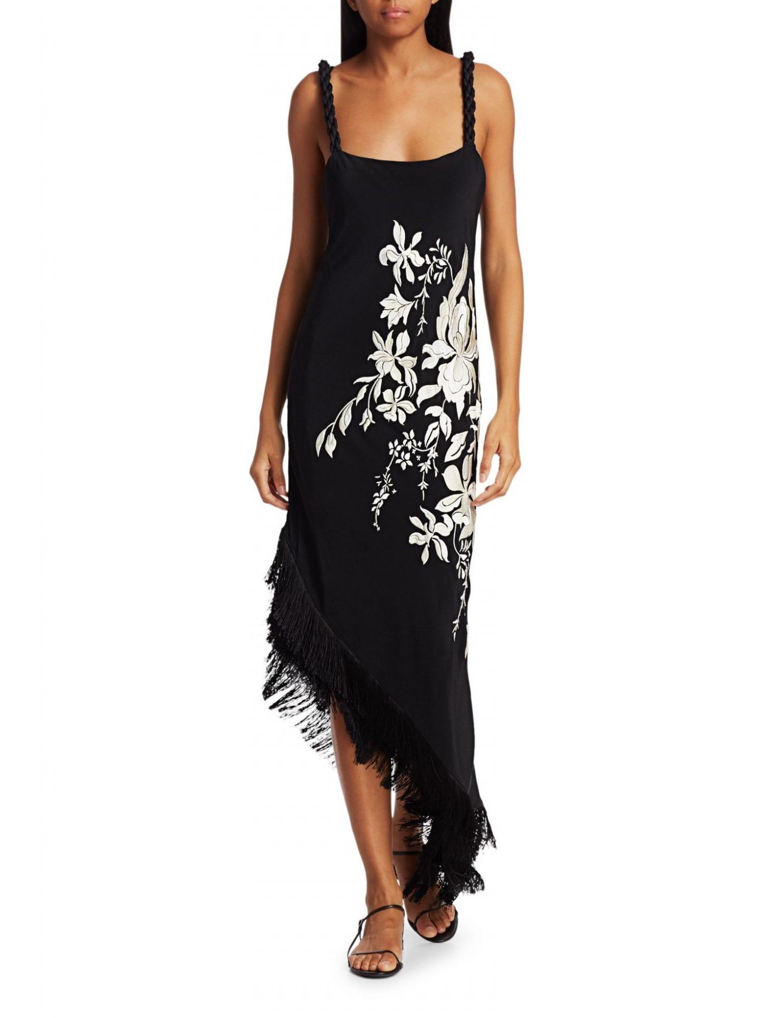 JOHANNA ORTIZ Focus & Flower Asymmetric Fringe Midi Dress