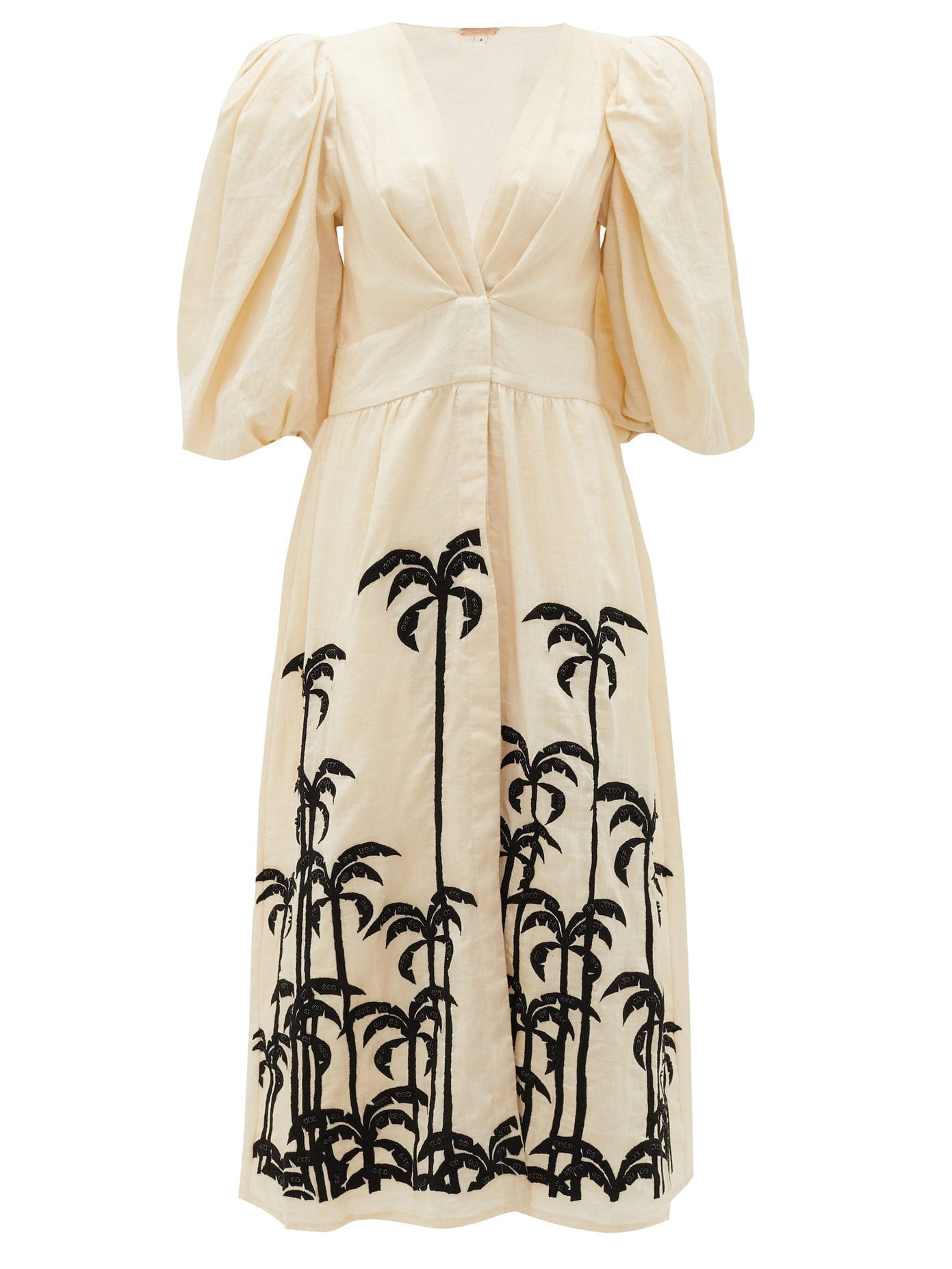 JOHANNA ORTIZ Quizás Palm Tree-embroidered Linen Midi Dress