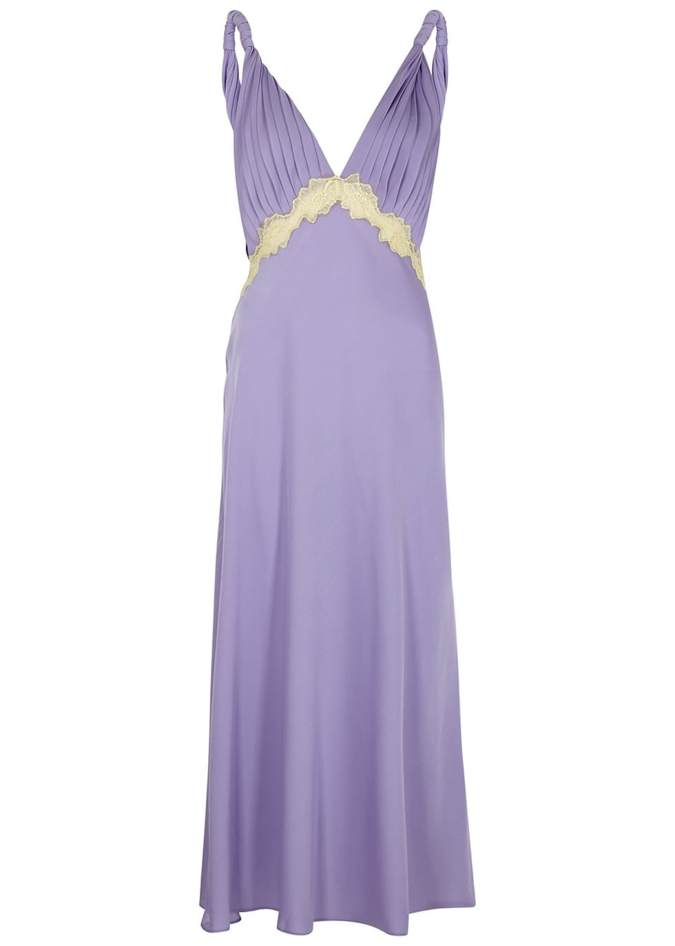 JONATHAN SIMKHAI Kiara Lilac Lace-trimmed Satin Dress