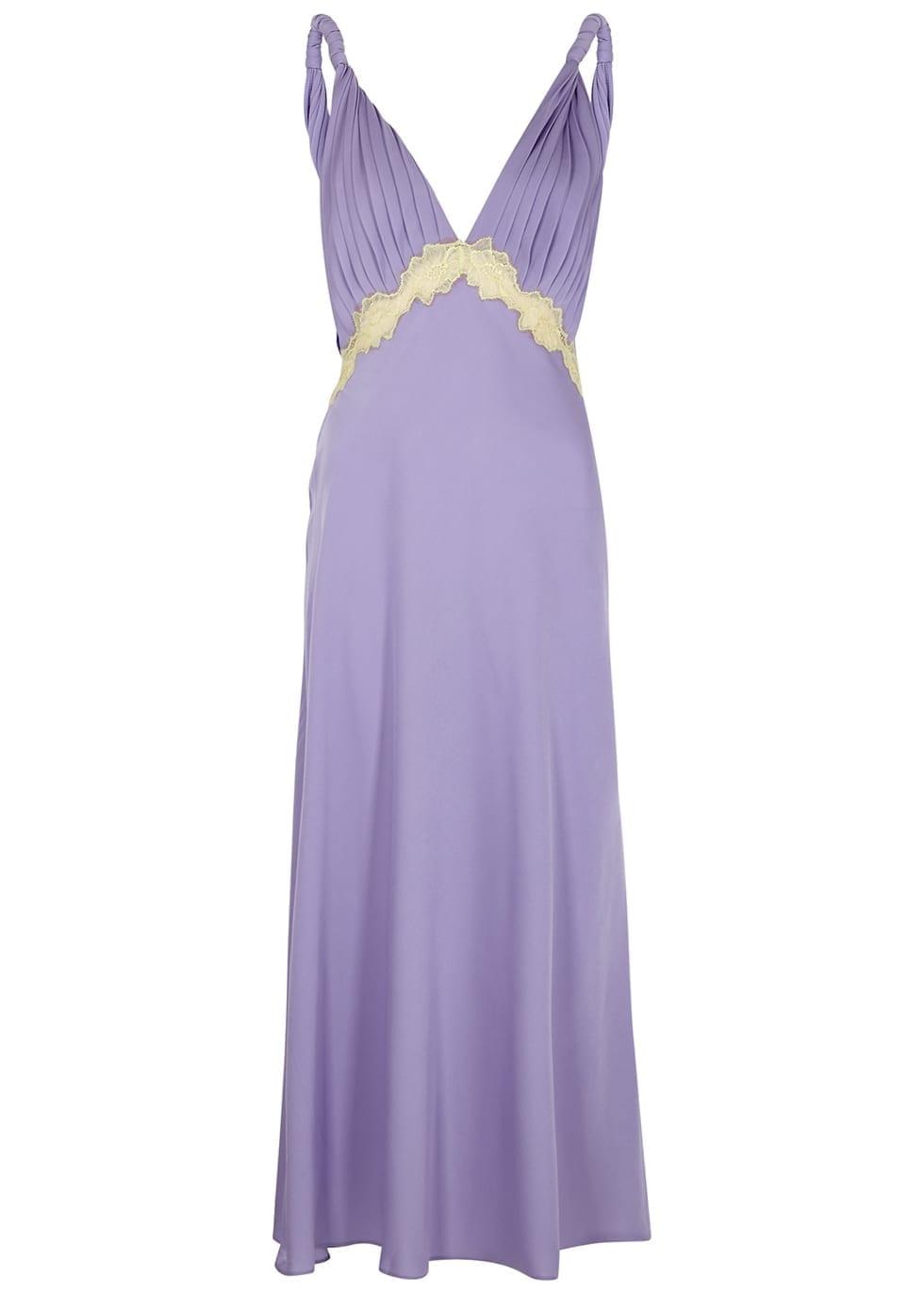 JONATHAN SIMKHAI Kiara Lilac Lace-trimmed Satin Dress