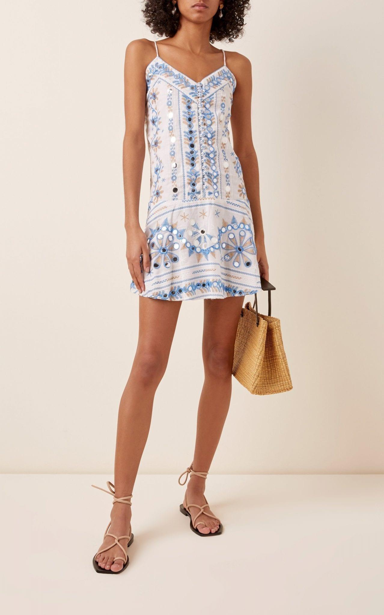 JULIET DUNN Embellished Nomad-Print Cotton Slip Dress