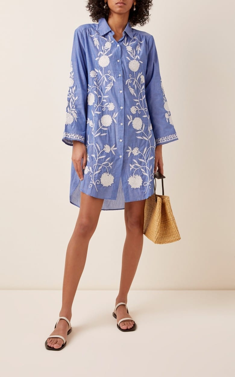 JULIET DUNN Floral-Embroidered Cotton Chambray Shirt Dress