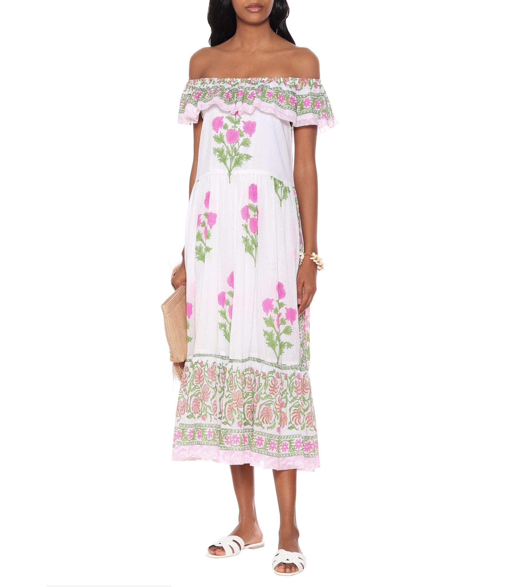 JULIET DUNN Off-the-shoulder Floral Cotton Dress