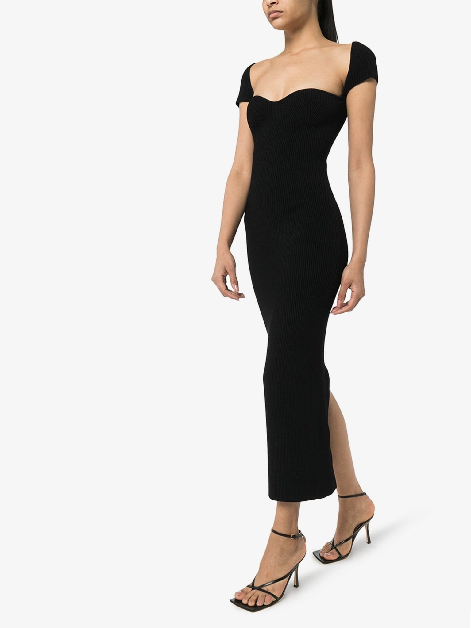 KHAITE Allegra Rib Knit Midi Dress