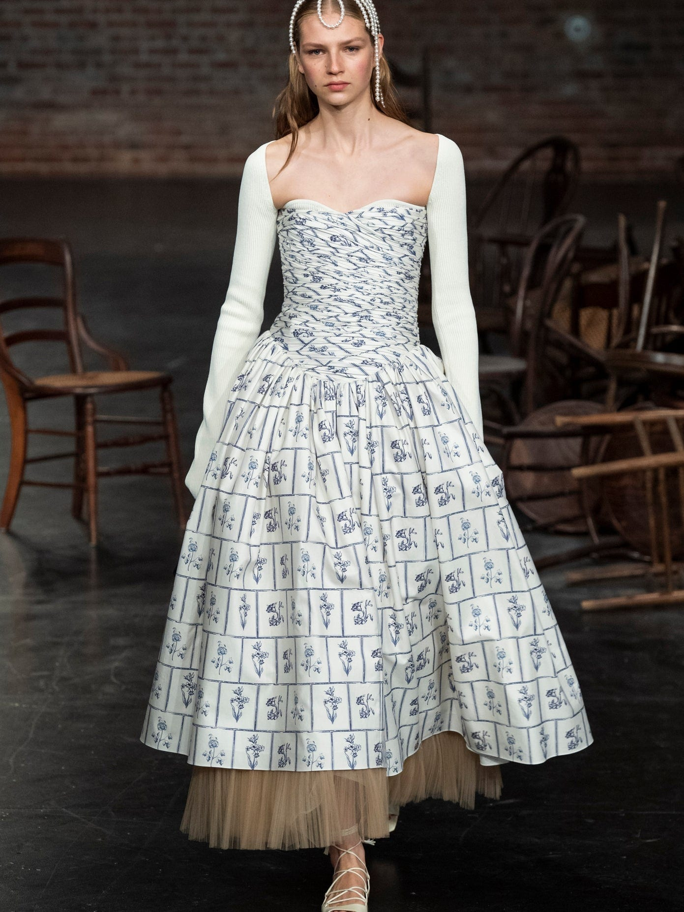 KHAITE Cleo Strapless Ruched Floral Tile-print Midi Dress
