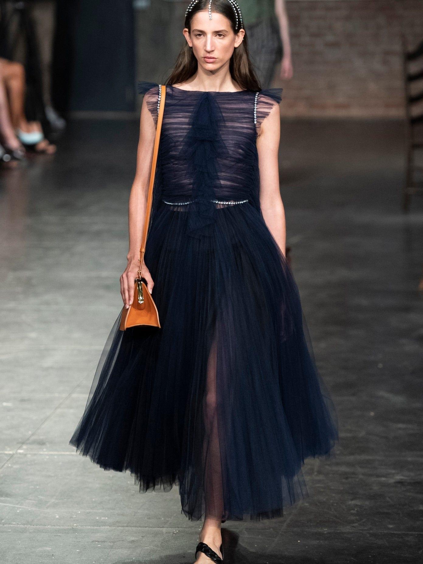 KHAITE Paige Crystal-embellished Tulle Midi Dress