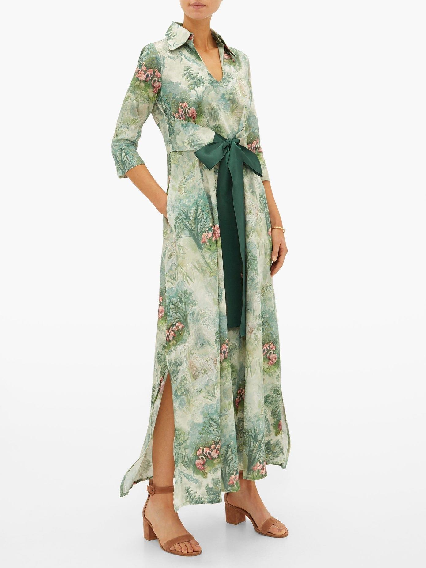 LA COSTA DEL ALGODÓN Marais Flamingo-print Cotton Dress
