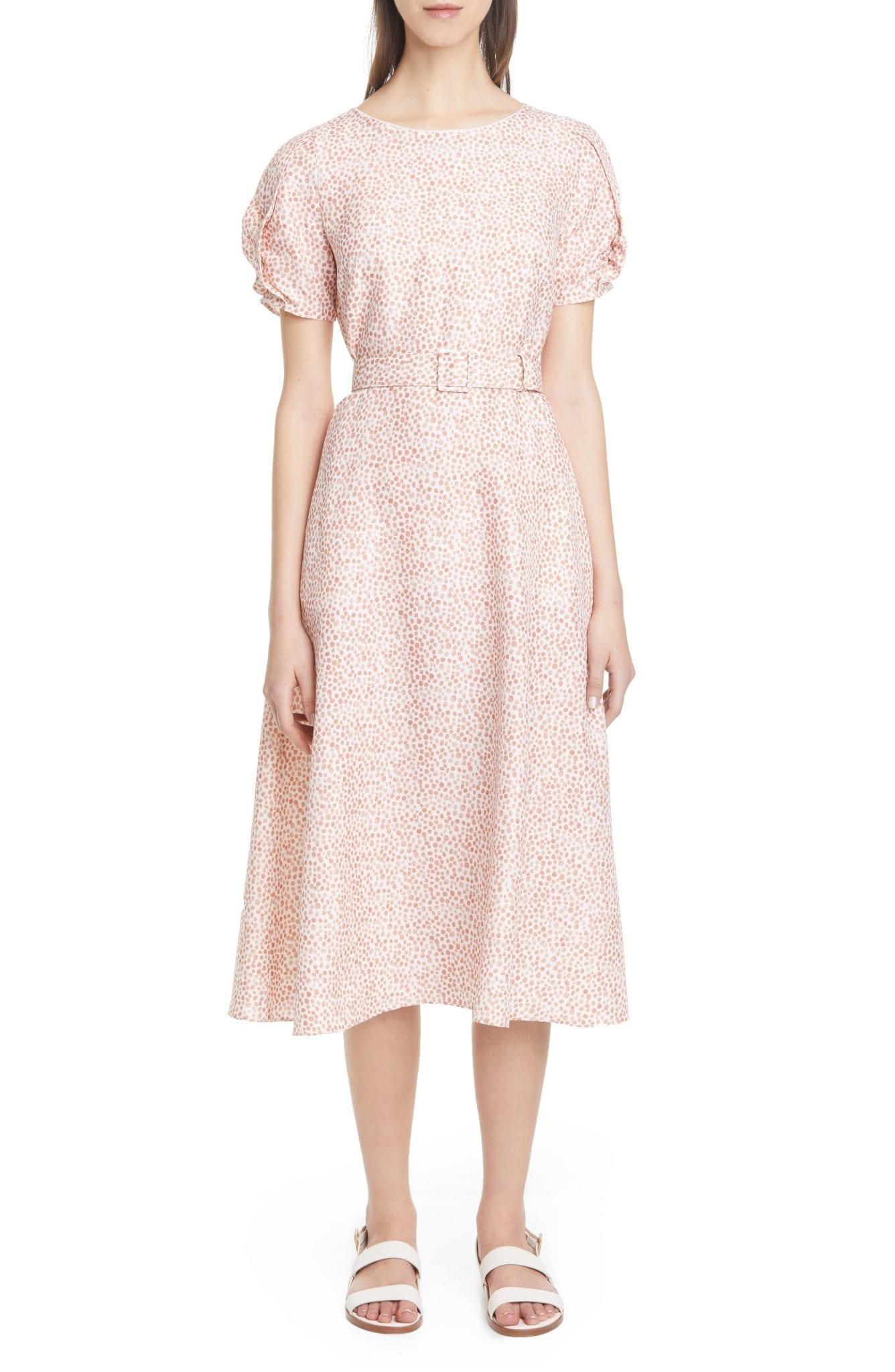 LAFAYETTE 148 NEW YORK Adriana Belted Silk Midi Dress