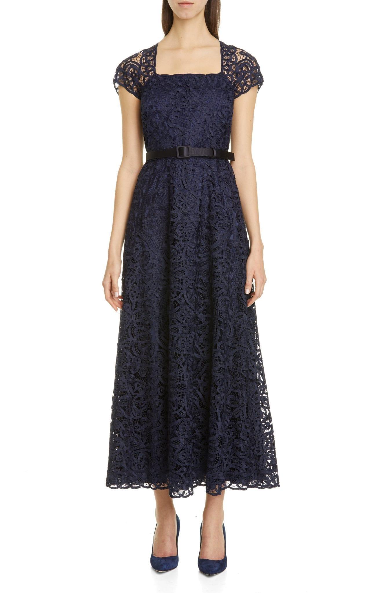 LAFAYETTE 148 NEW YORK Daisy Belted Lace Maxi Dress