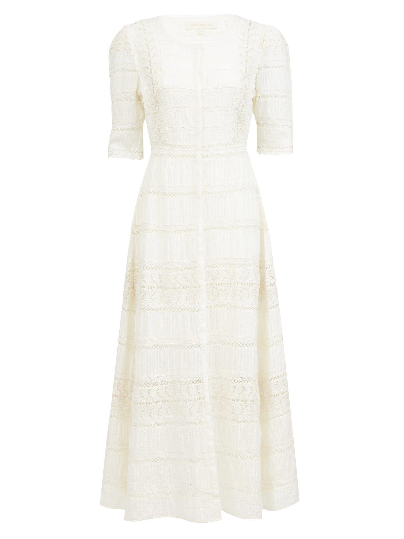 LOVE SHACK FANCY Flora Embroidered-cotton Midi Dress