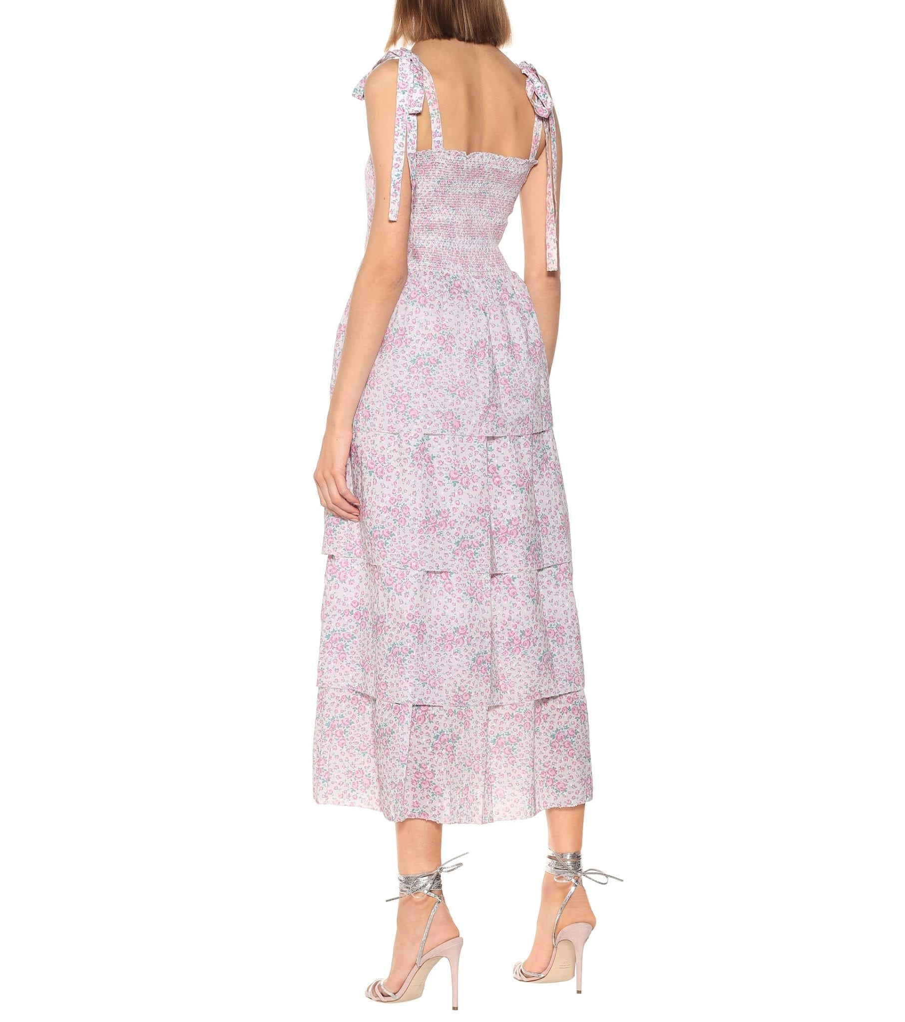 LOVESHACKFANCY Caressa Floral Cotton Midi Dress
