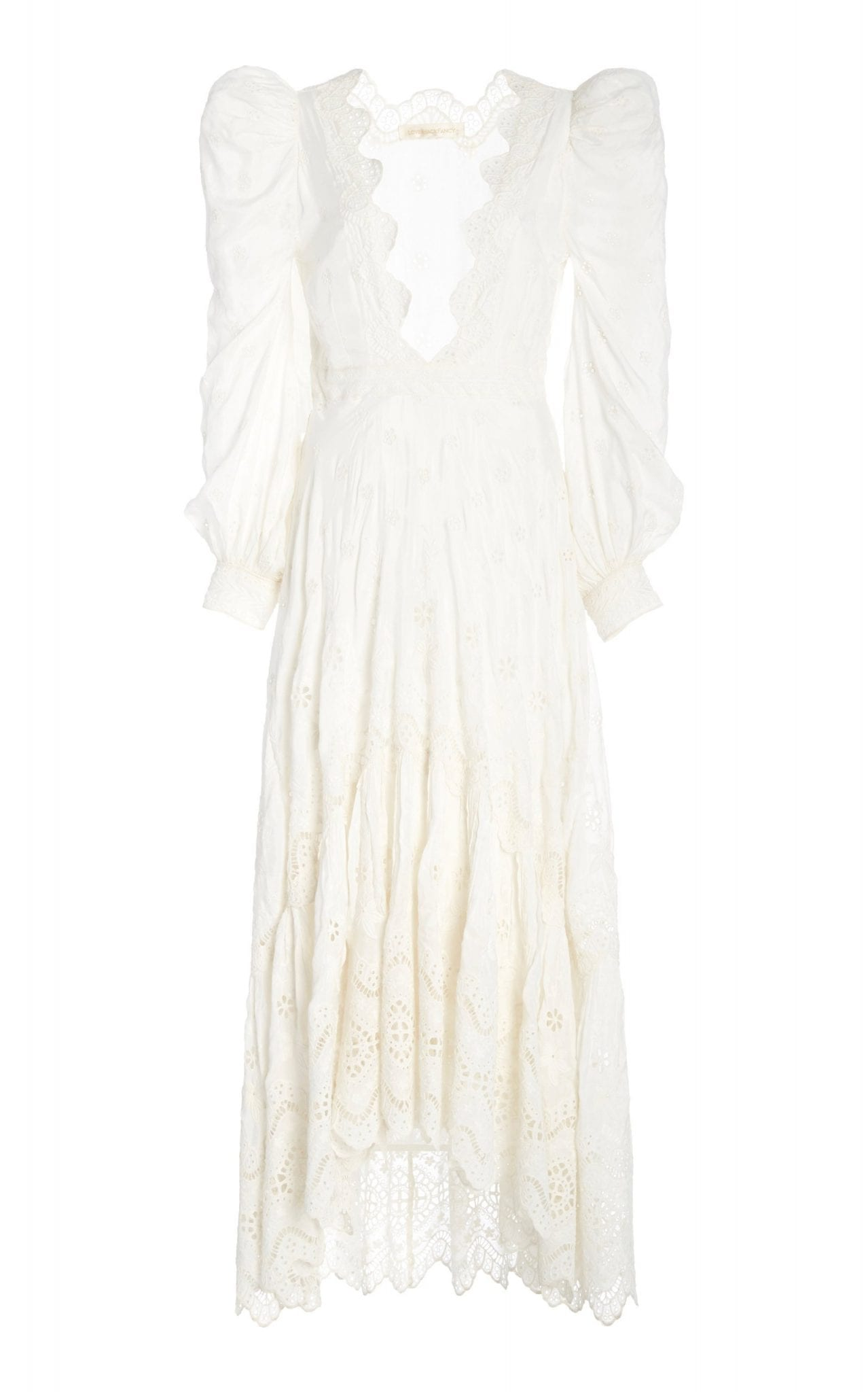 LOVESHACKFANCY Carmel Broderie Anglaise Silk-Georgette Maxi Dress