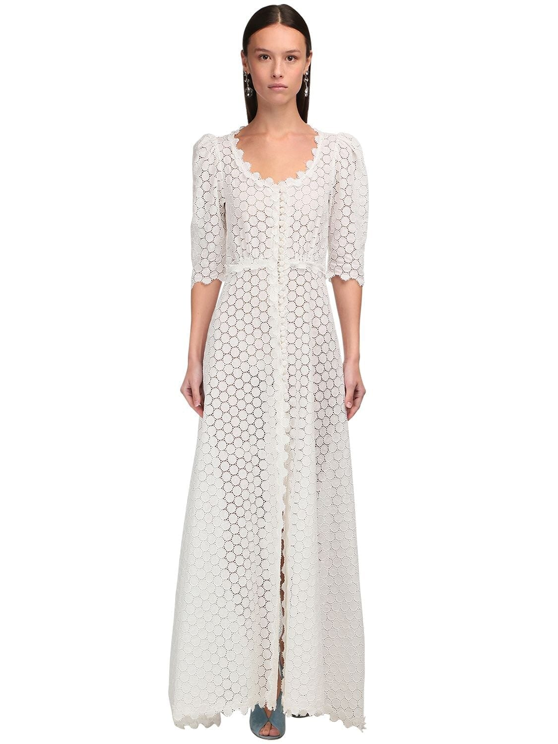 LUISA BECCARIA Button-up Linen Eyelet Lace Long Dress