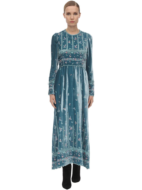 LUISA BECCARIA Long Embroidered Velvet Dress