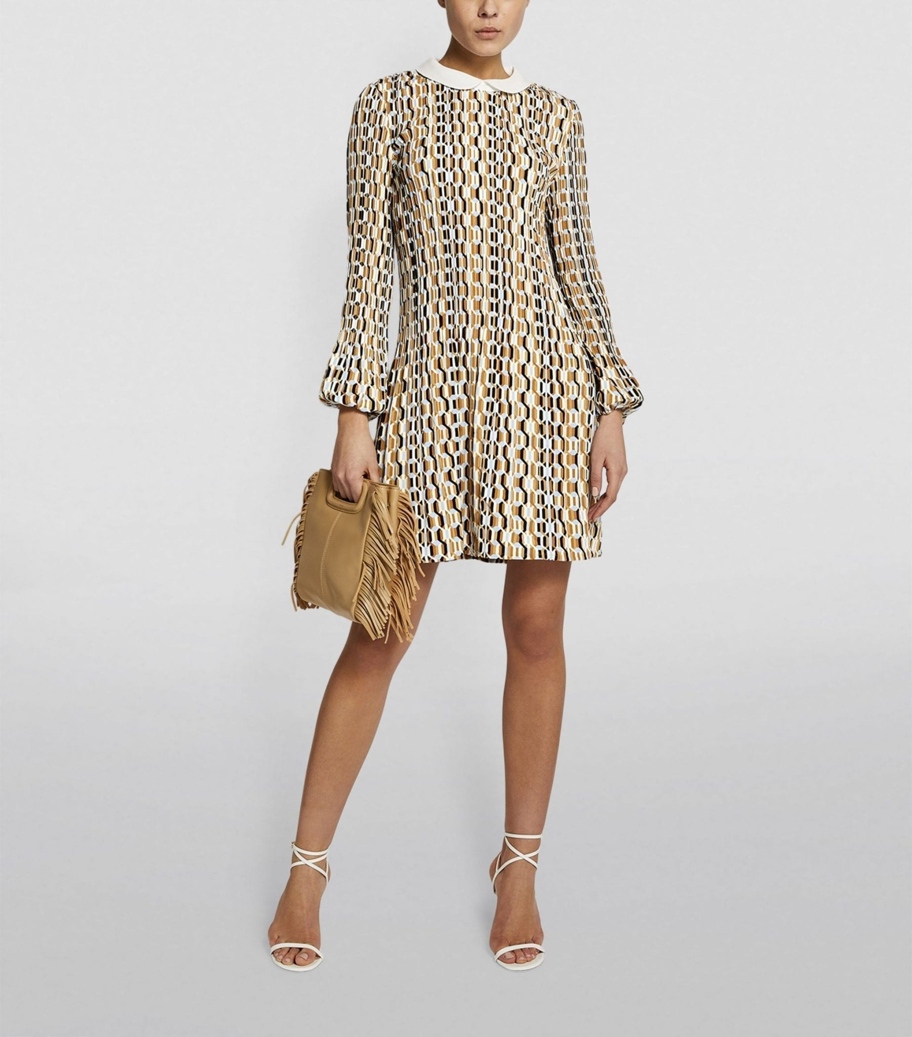 MAJE Pleated Graphic Print Dress