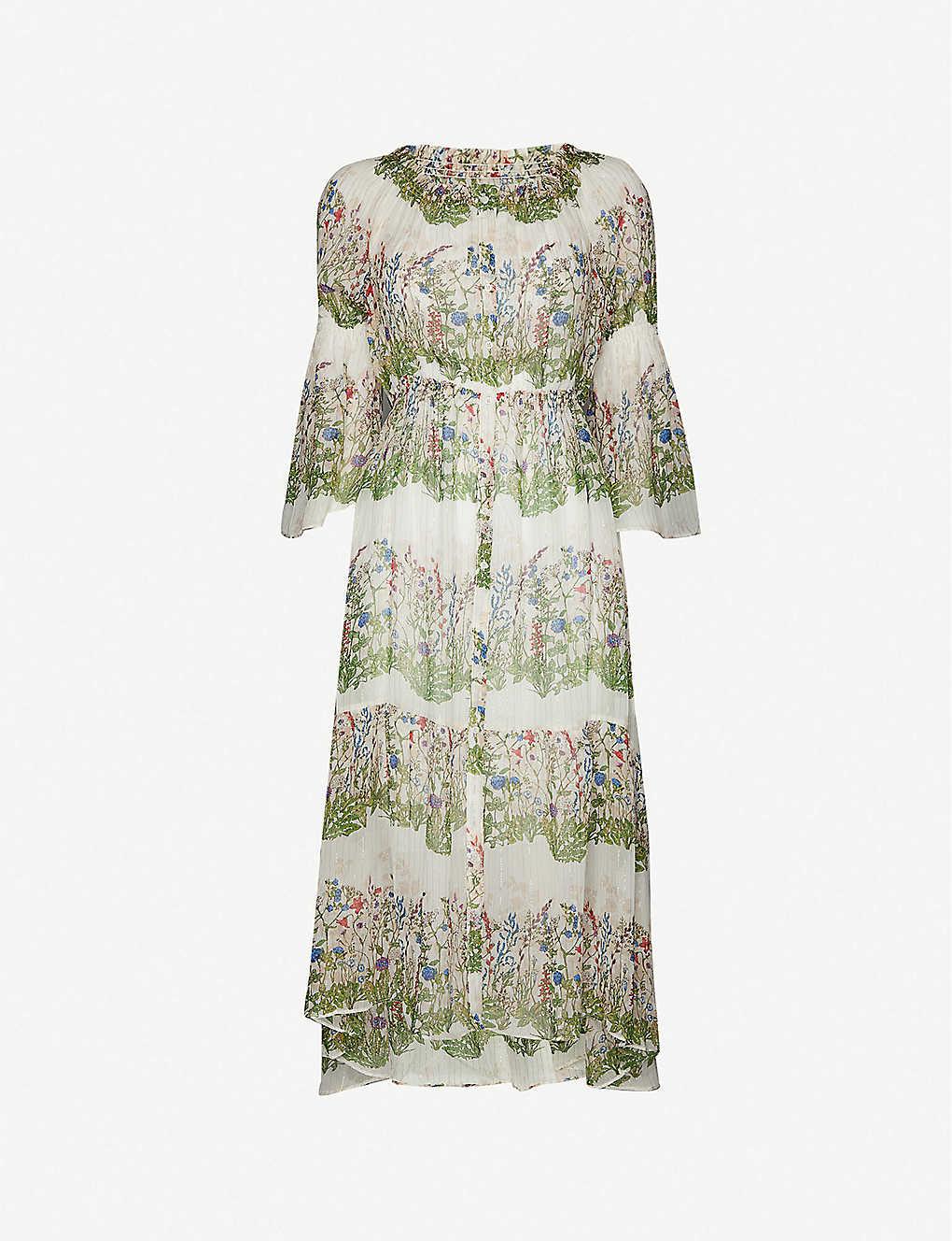 MAJE Ruisseau Floral-pattern Metallic-silk Shift Midi Dress