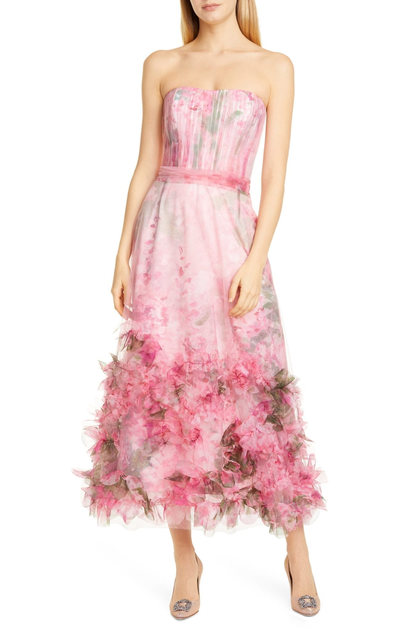 MARCHESA NOTTE Floral Appliqué Strapless Dress