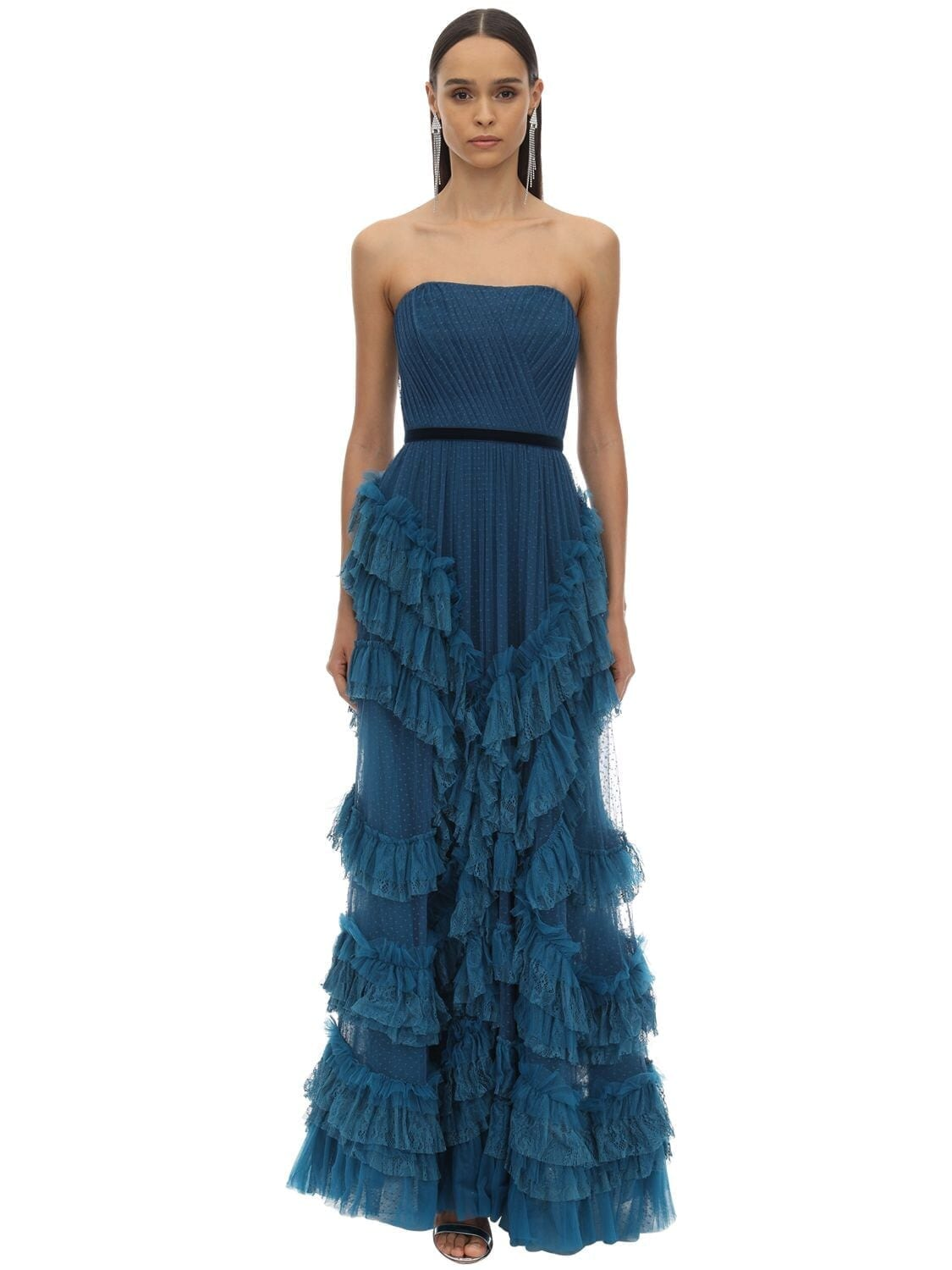 MARCHESA NOTTE Long Draped & Ruffled Tulle Dress