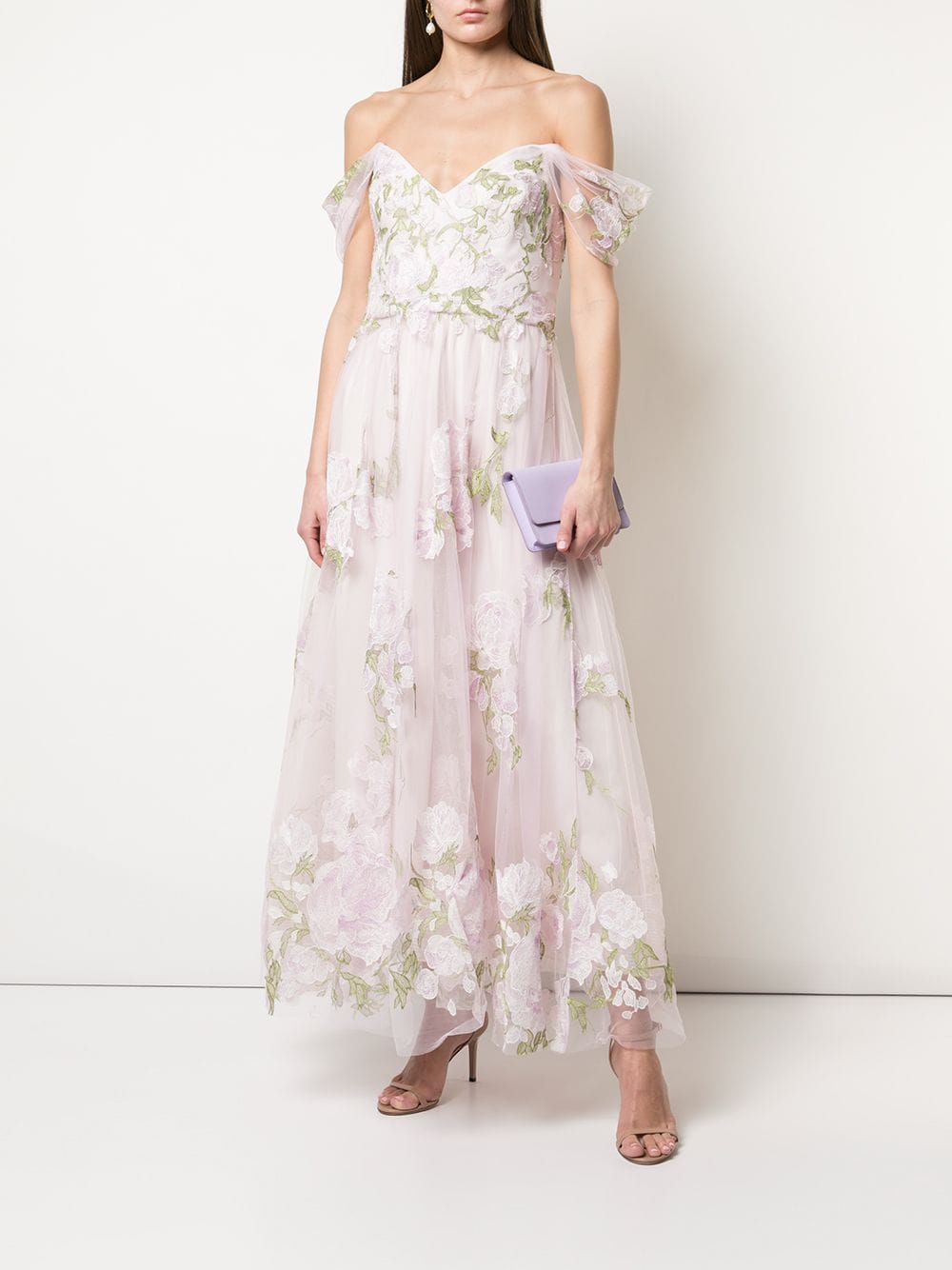 MARCHESA NOTTE Off-shoulder Floral Embroidered Gown