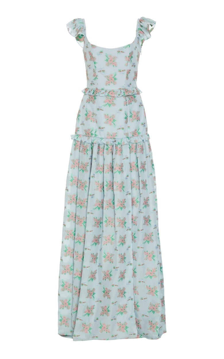 MARKARIAN Arabella Ruffled Floral-Print Crepe De Chine Gown