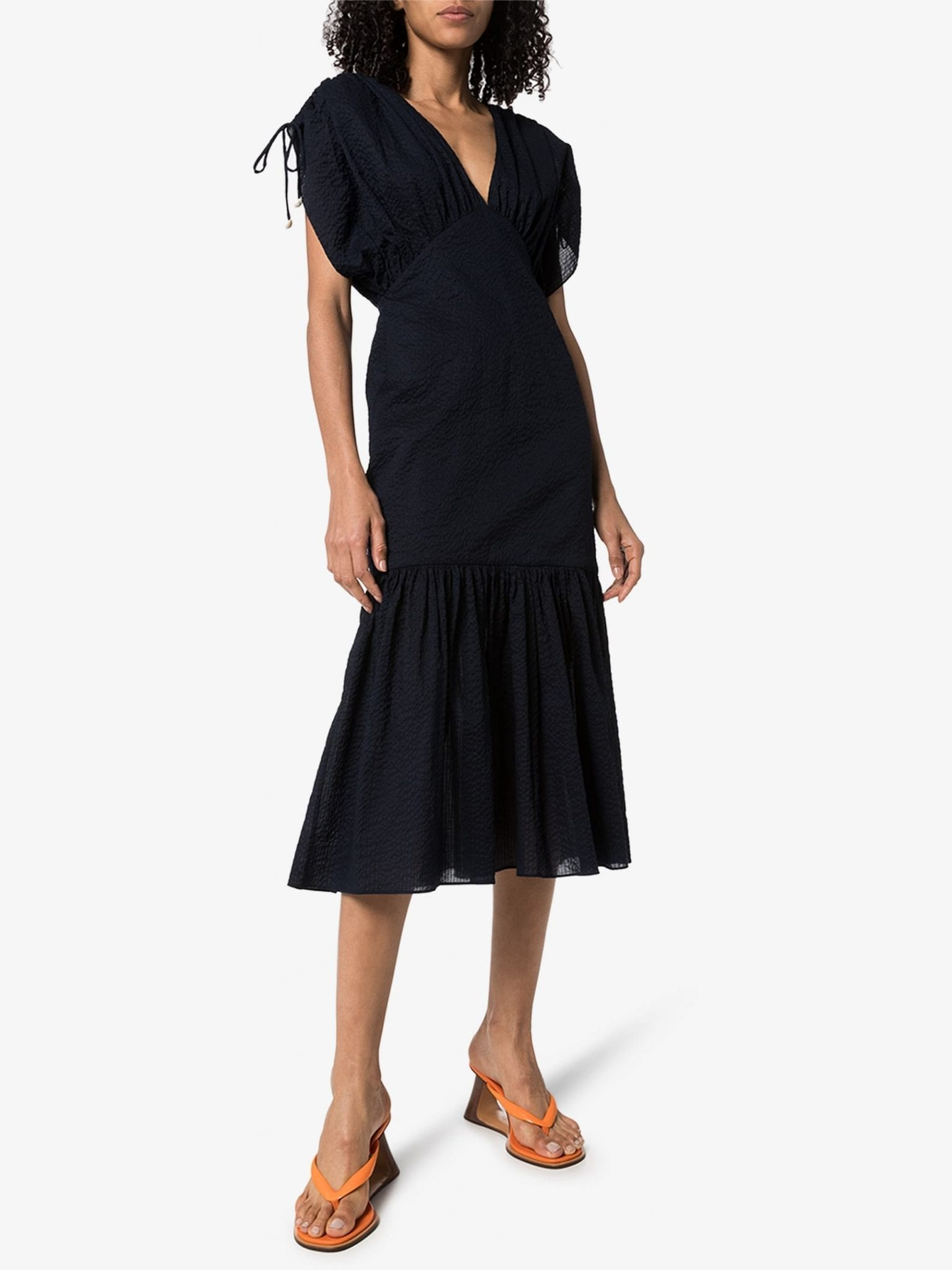 MARYSIA Monterey V-Neck Cotton Midi Dress